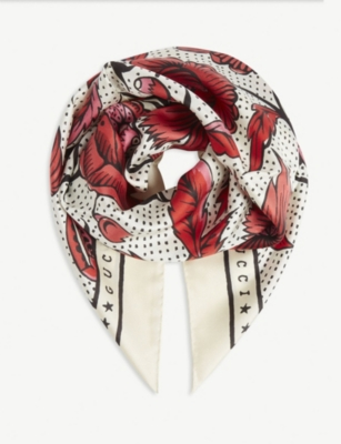 GUCCI Watercolour floral silk scarf