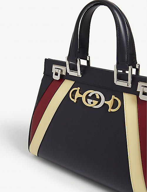 GUCCI Zumi stripe leather top handle bag