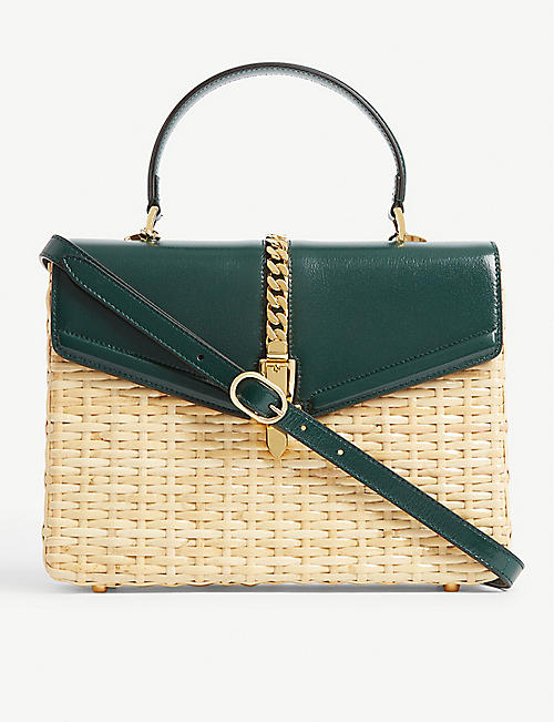 GUCCI Sylvie leather-trimmed wicker top handle bag