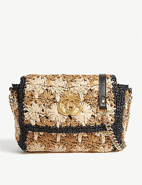 GUCCI Raffia-effect Marmont shoulder bag