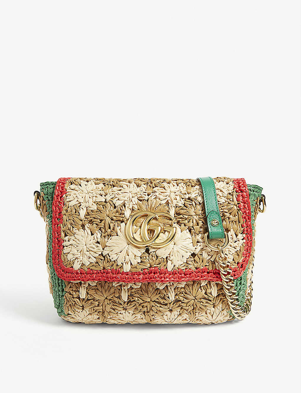 GUCCI: Raffia-effect Marmont shoulder bag