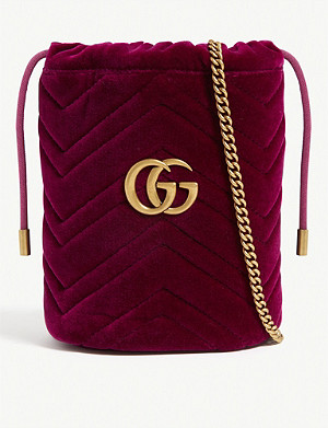 GUCCI Marmont mini velvet bucket bag