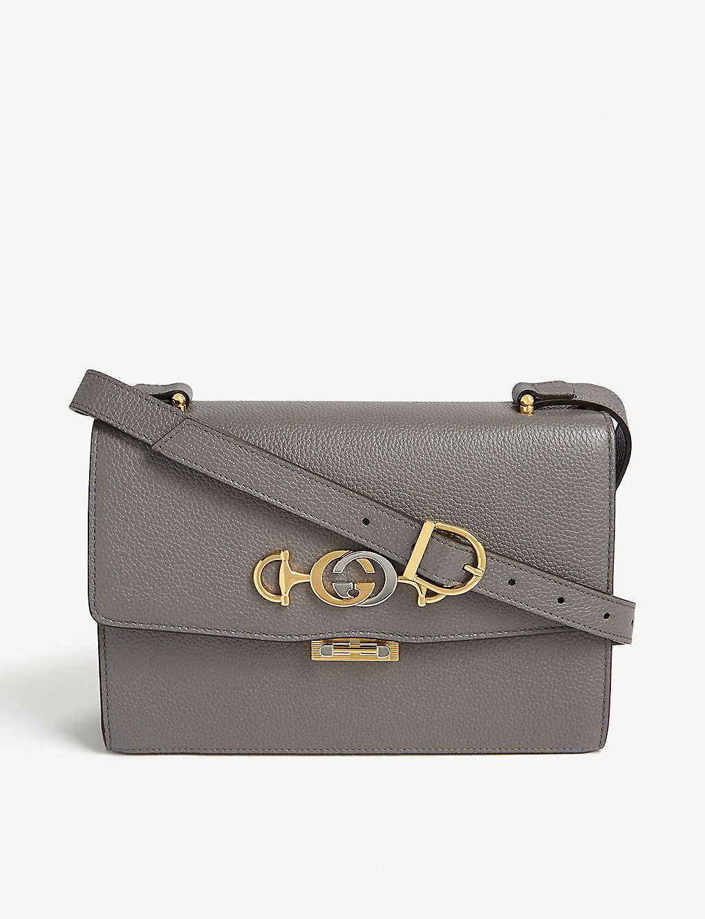 Zumi leather shoulder bag - DUSTY GREY