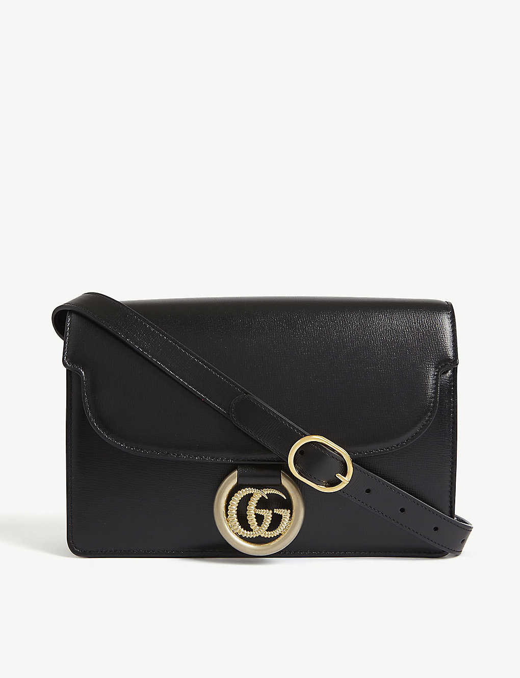 GG logo leather crossbody bag - BLACK