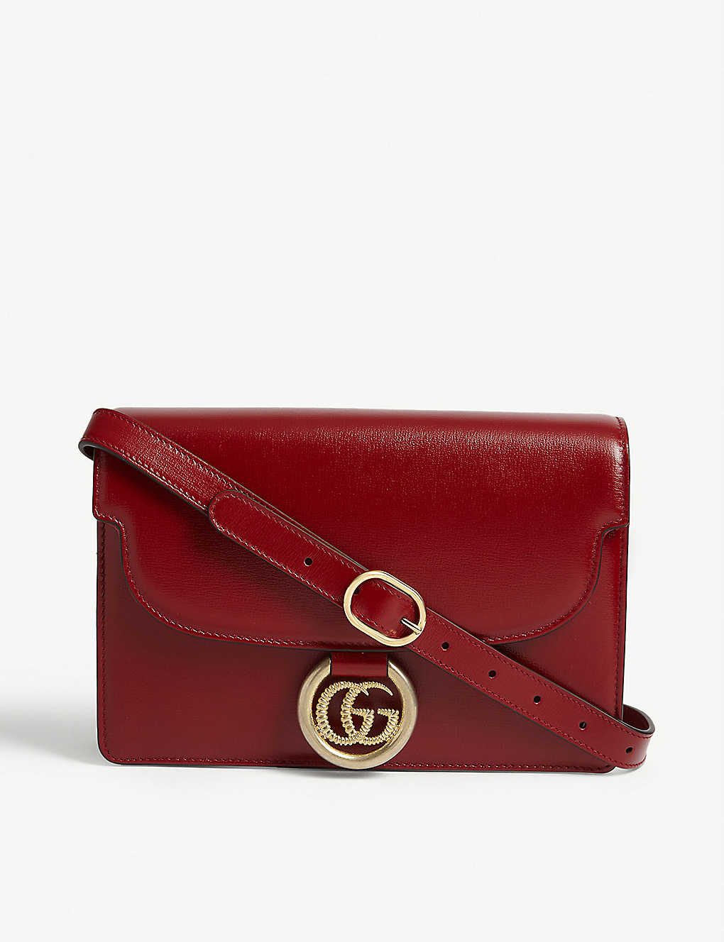 $1,835 ( Was $2590 ) GUCCI GG logo leather crossbody bag @ Selfridges