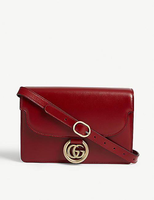 GUCCI GG logo leather crossbody bag
