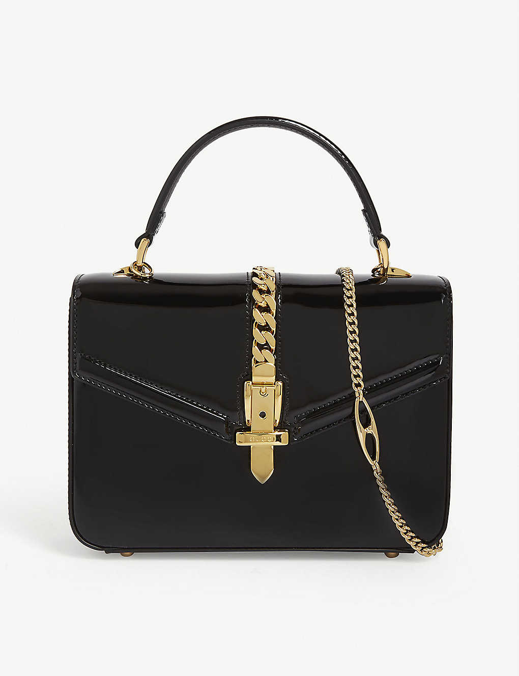 Sylvie patent leather mini tote - BLACK