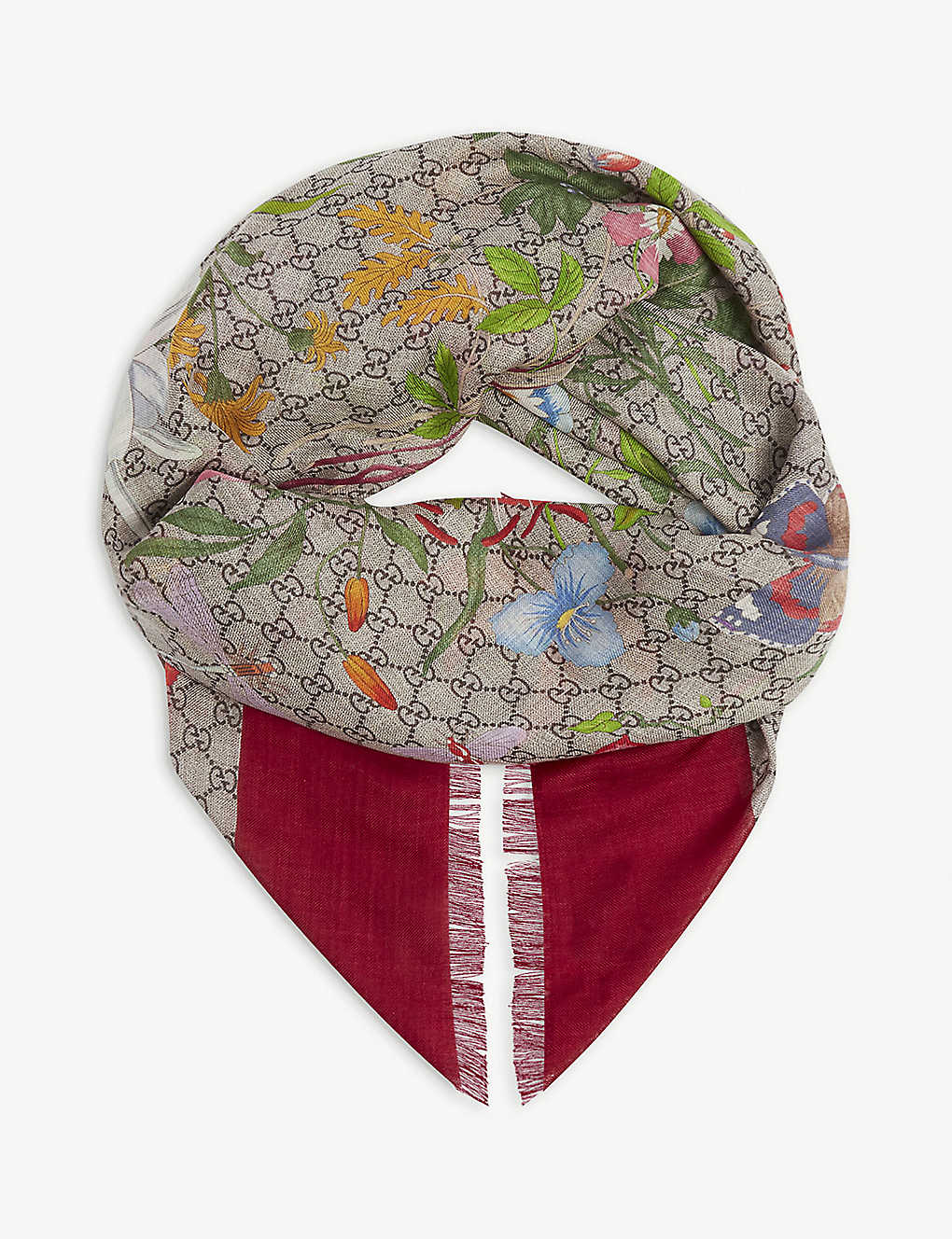 GUCCI: Flora wool and silk-blend shawl