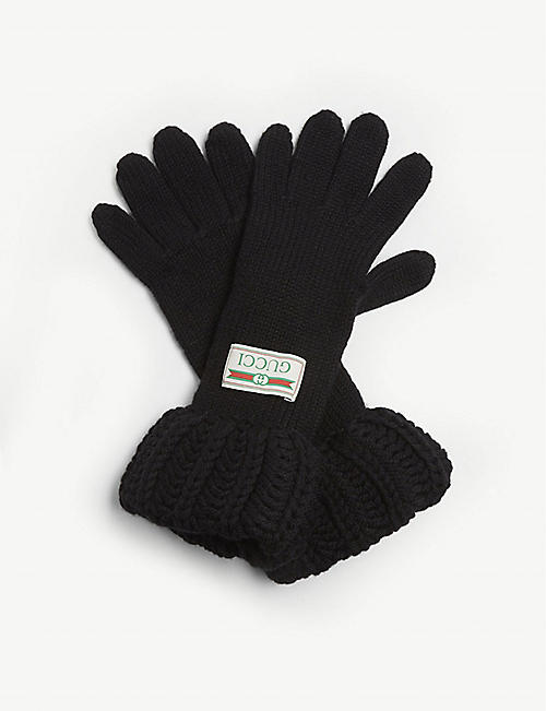 GUCCI Logo patch wool gloves