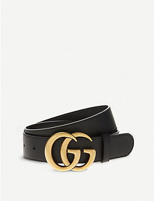 GUCCI: Double G leather belt
