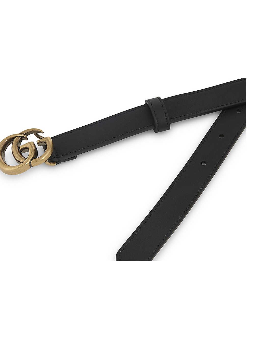 3b769847201 ... GG buckle slim leather belt - Nero