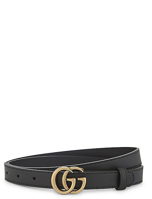 GUCCI: GG buckle slim leather belt