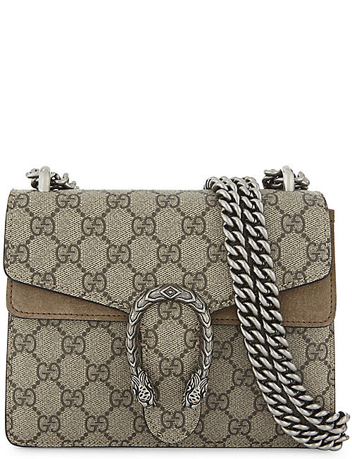GUCCI Dionysus Supreme GG canvas and suede shoulder bag e13833866