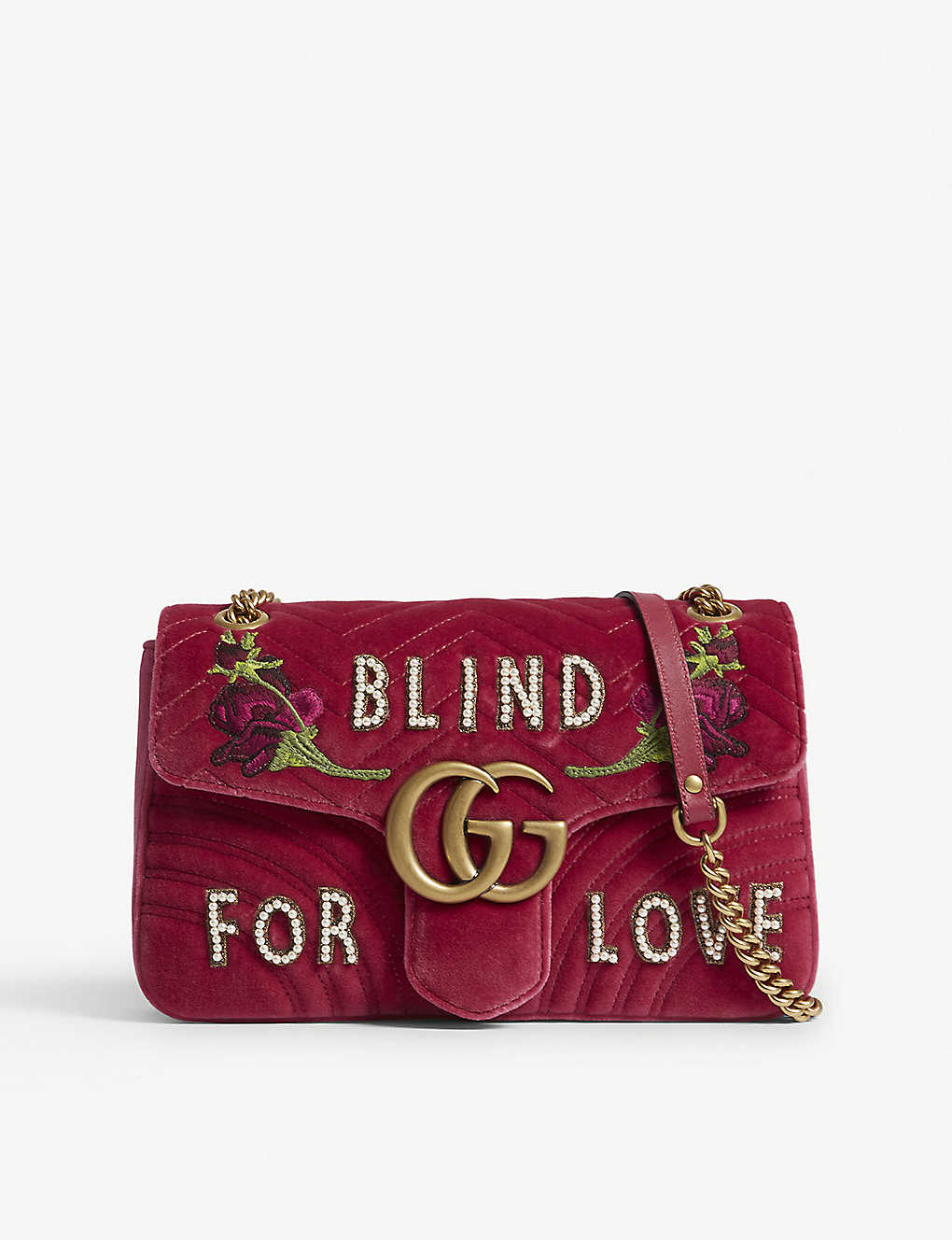 5f97f4beacf950 GUCCI - GG Marmont medium velvet shoulder bag | Selfridges.com