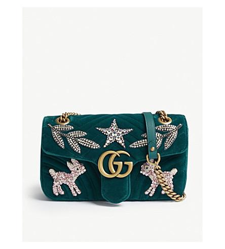 Gg Marmont Small Embellished Velvet Cross-Body Bag, Peacock