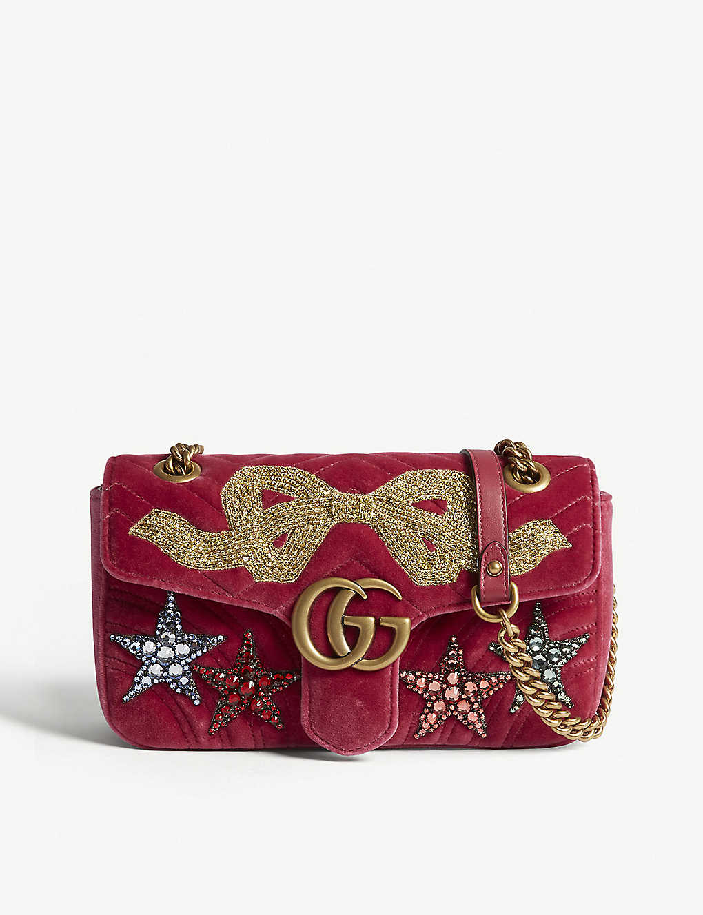 9275b3923f0 GG Marmont embellished velvet shoulder bag - Raspberry pink ...