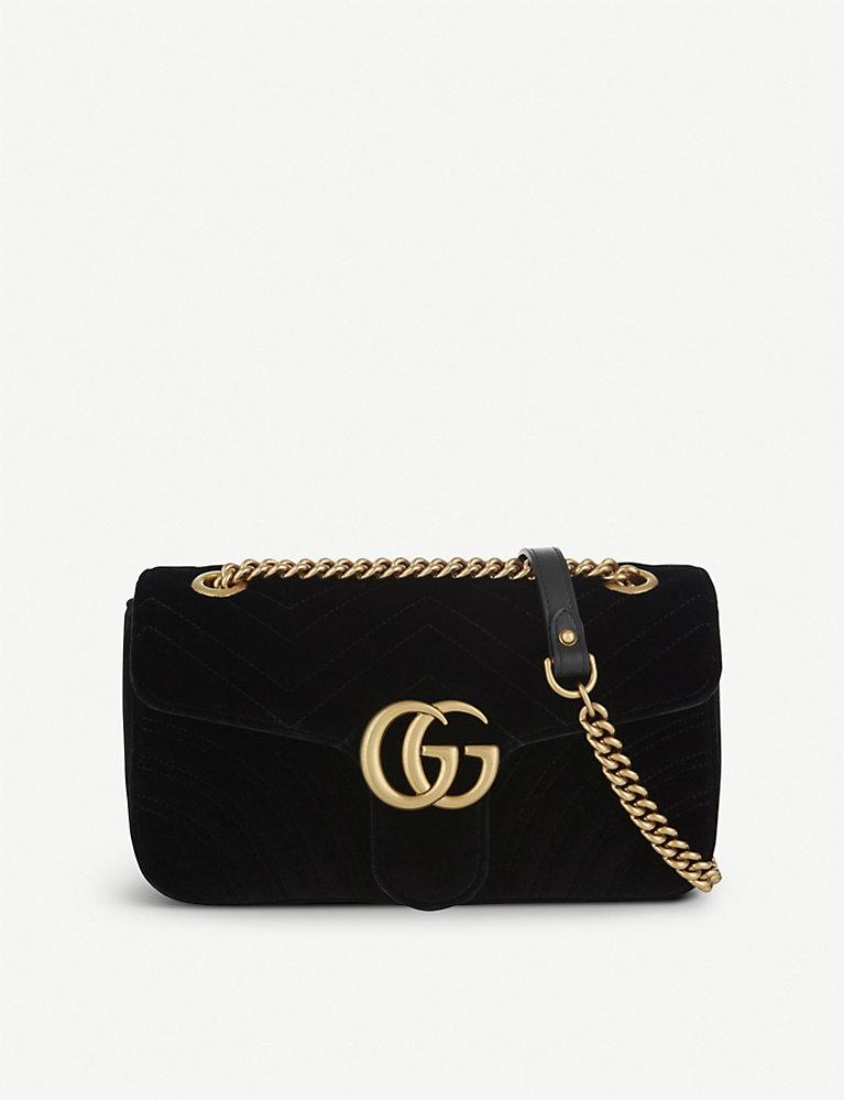65b6cdada GUCCI - Marmont small velvet shoulder bag | Selfridges.com