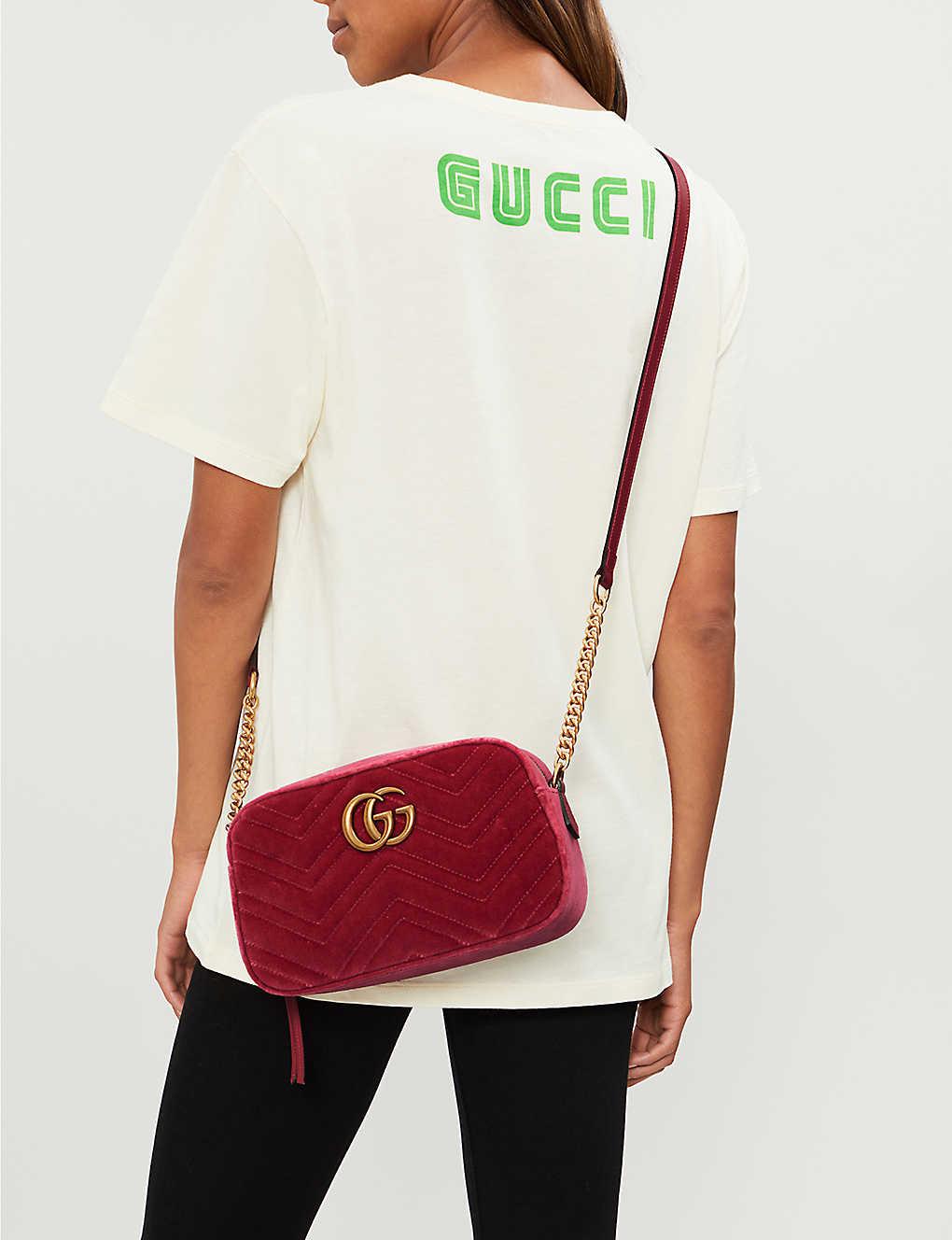 4b1b18008c8 GUCCI - GG Marmont small velvet shoulder bag