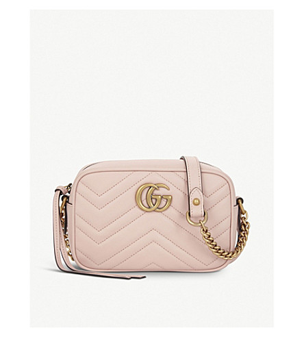 GUCCI GG Marmont small quilted leather camera cross-body bag (Perfect+pink 1bd0fe6a8f409