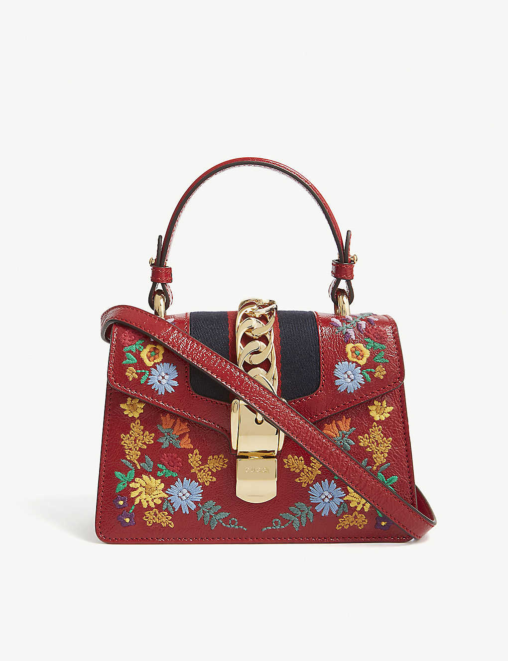 f4fd2351e GUCCI - Sylvie floral leather cross-body bag | Selfridges.com