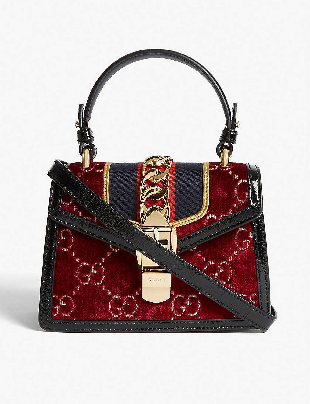 33bd22a31ec9 GUCCI - Sylvie mini velvet bag | Selfridges.com