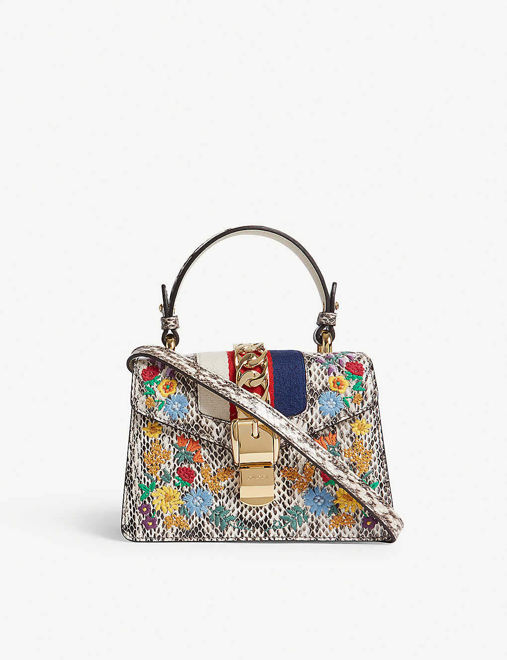 b033b56fe GUCCI - Sylvie snake-embossed floral leather mini bag | Selfridges.com