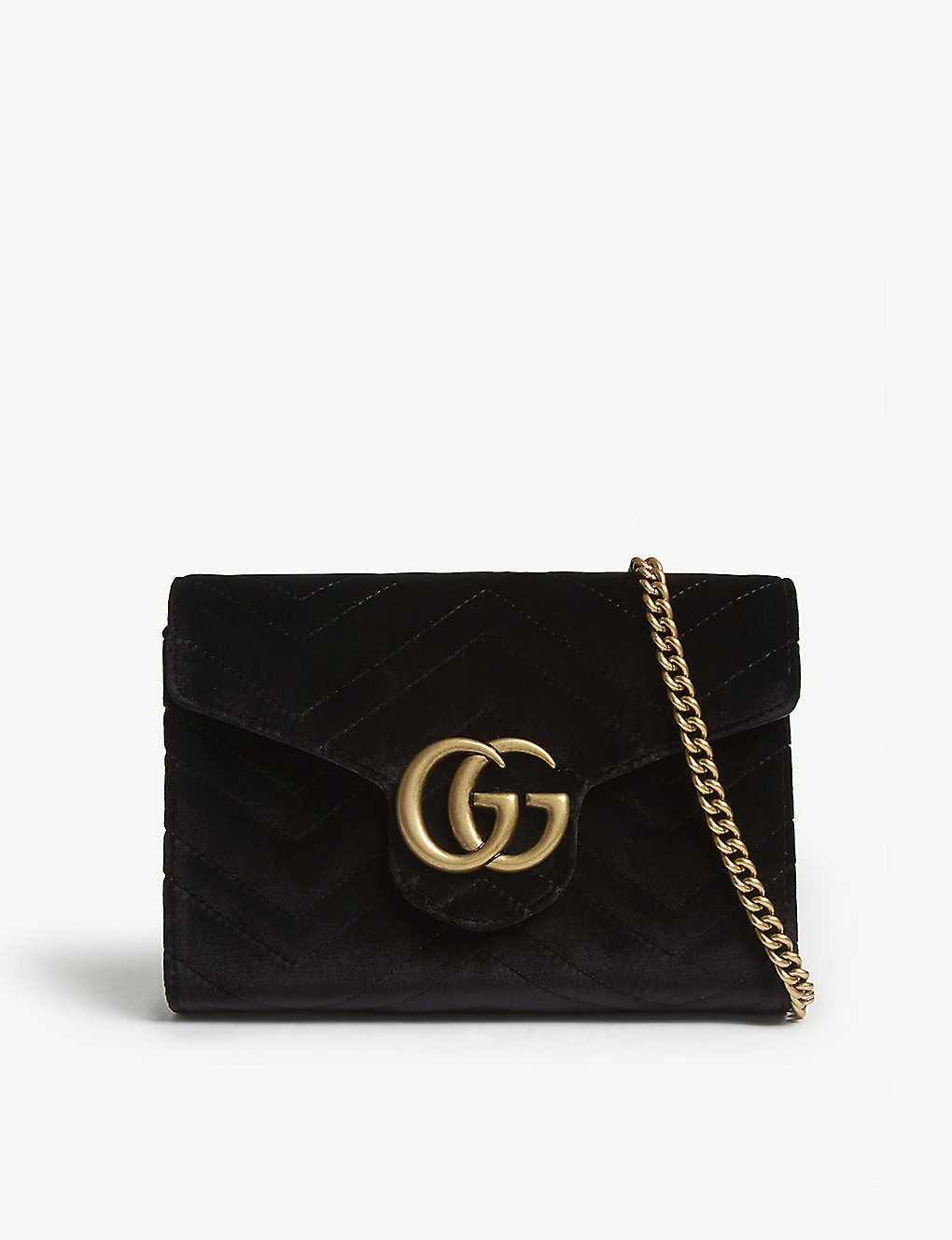 d77fc66e4d24 GUCCI - Marmont GG velvet wallet-on-chain | Selfridges.com