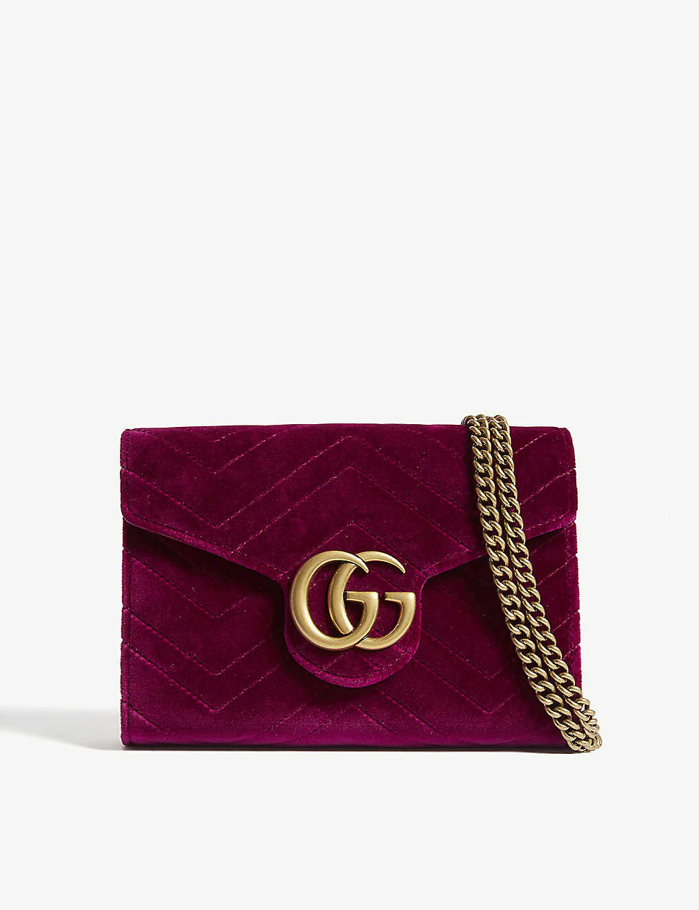 73821abebd1c GUCCI - Marmont GG velvet wallet-on-chain | Selfridges.com