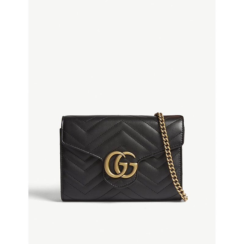 Gg Marmont Chevron Quilted Leather Flap Wallet On A Chain in Black