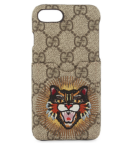 0e825560a0f GUCCI Angry cat canvas iPhone 7 case (Beige