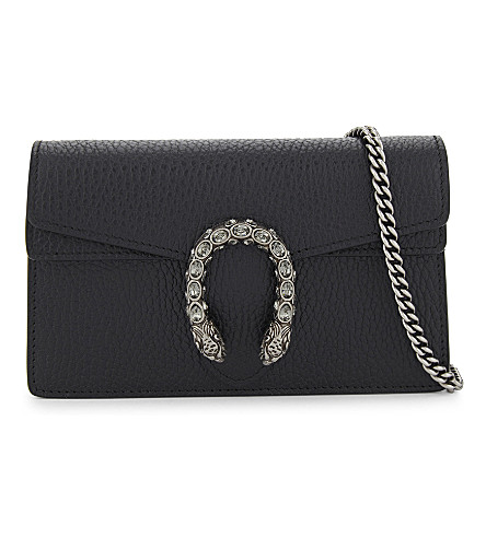 b432f7053e96 GUCCI Dionysus super mini grained leather cross-body bag (Black