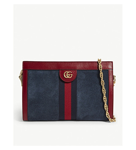 2a5f05a1c90 GUCCI Ophidia small suede and leather shoulder bag (Blue