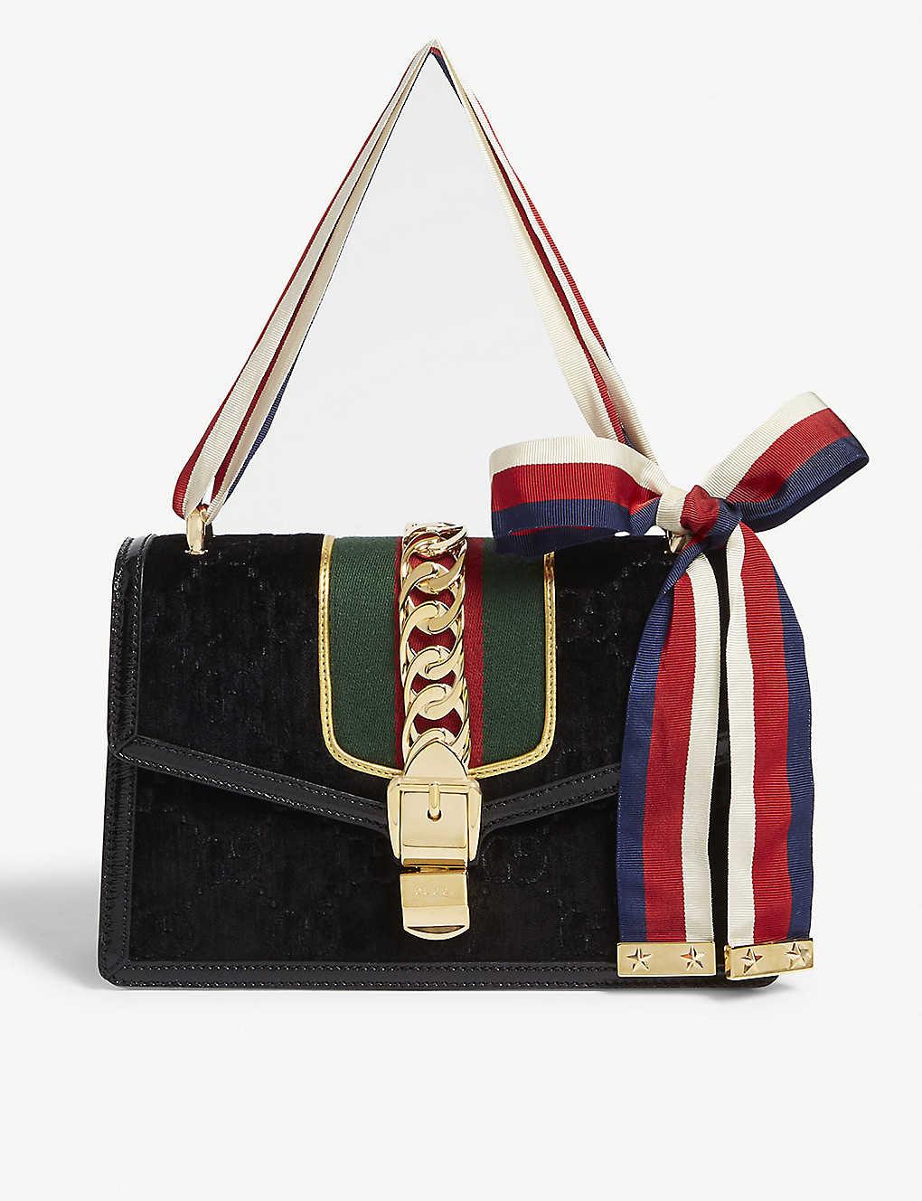 f7fbc5dfbc3b ... Sylvie small leather and velvet shoulder bag zoom ...