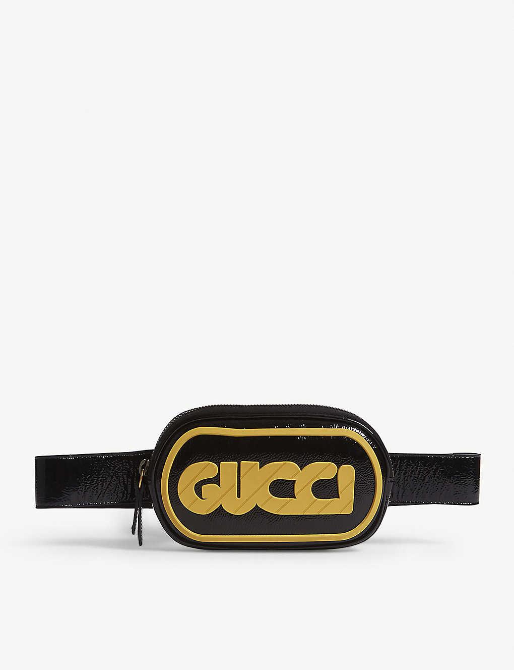 254afed8ed5 GUCCI - Striped logo patent leather belt bag