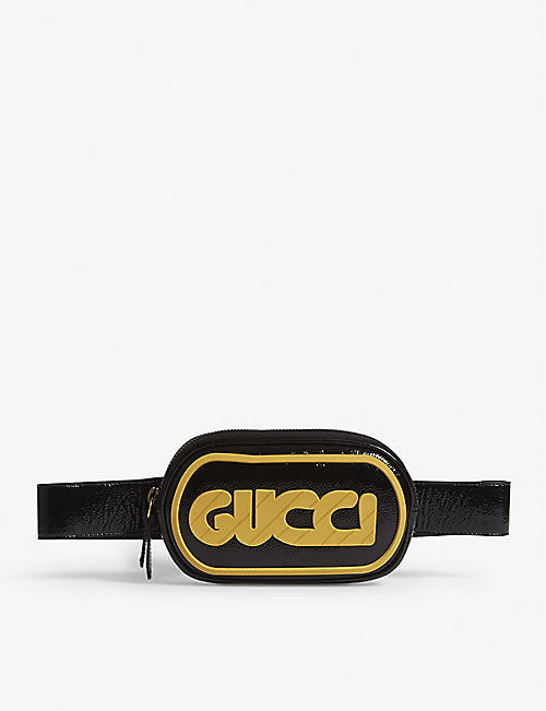 f36169b638b60 GUCCI - Striped logo patent leather belt bag