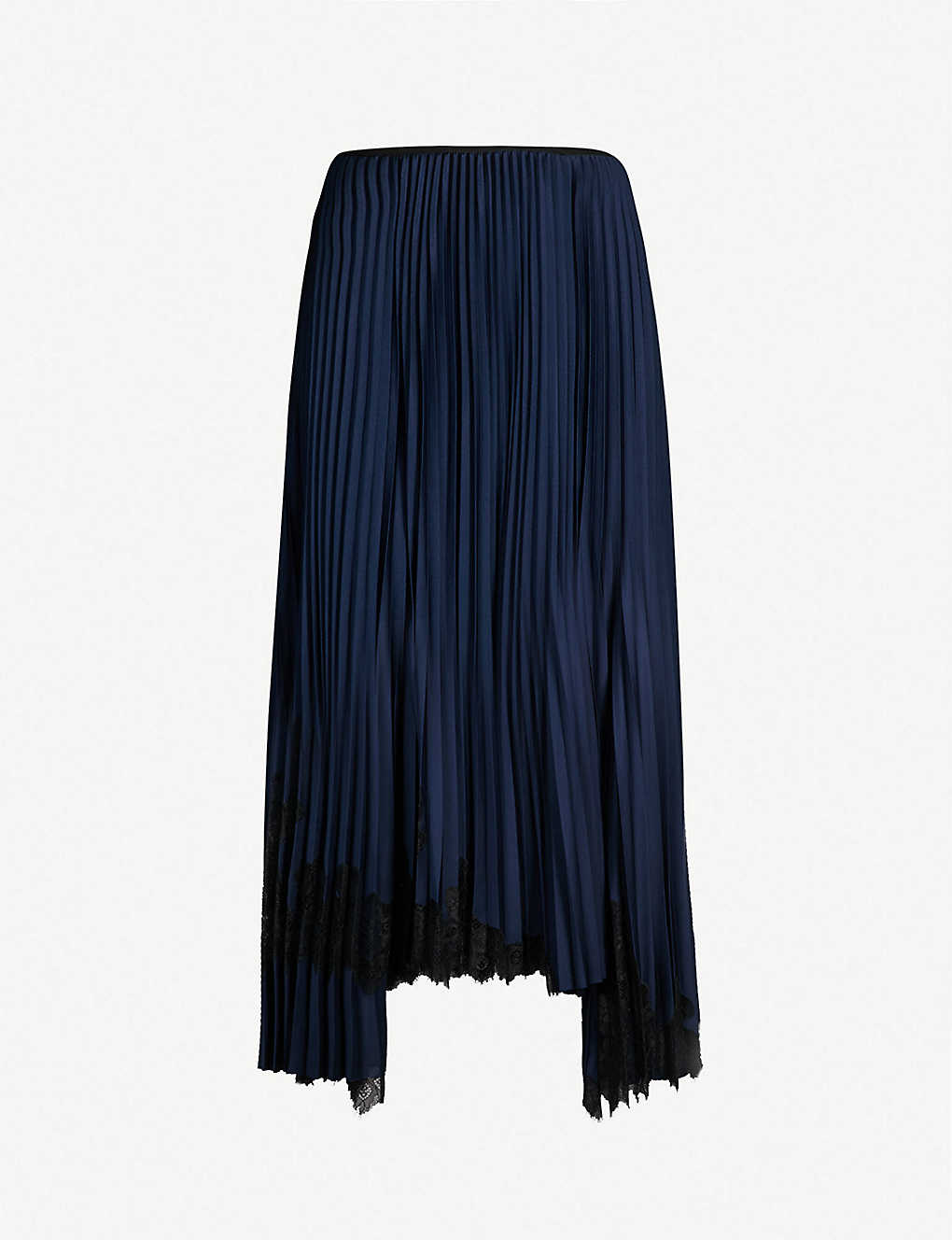 1dff658af HELMUT LANG - Pleated satin and lace midi skirt | Selfridges.com