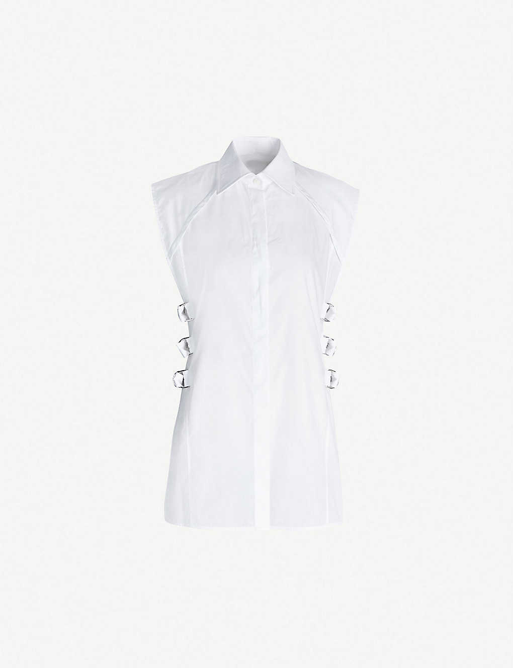 2d22d24209 HELMUT LANG - Buckle-embellished cotton-poplin top