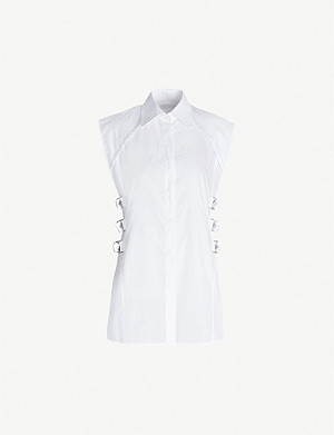 HELMUT LANG Buckle-embellished cotton-poplin top