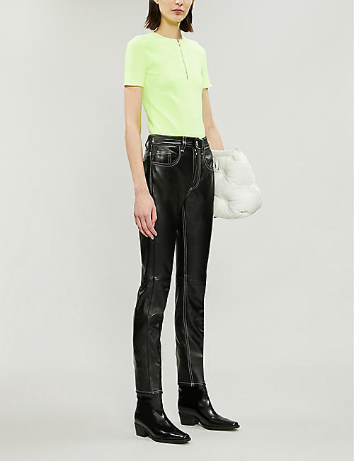 HELMUT LANG Zipped-front ribbed jersey top