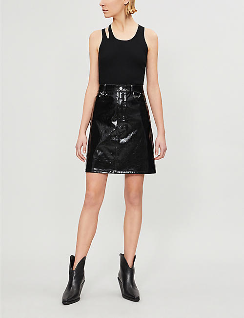 HELMUT LANG High-waisted patent-leather skirt