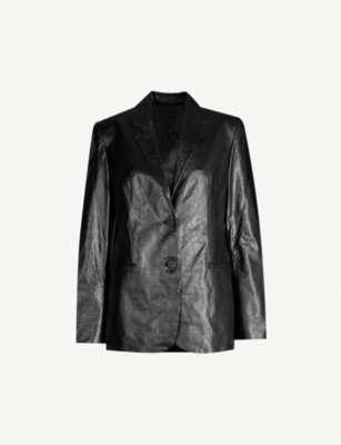 HELMUT LANG Notch-lapel long-sleeved leather jacket