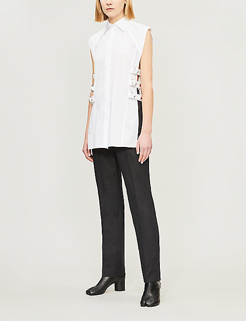 HELMUT LANG Mid-rise straight cotton-blend trousers