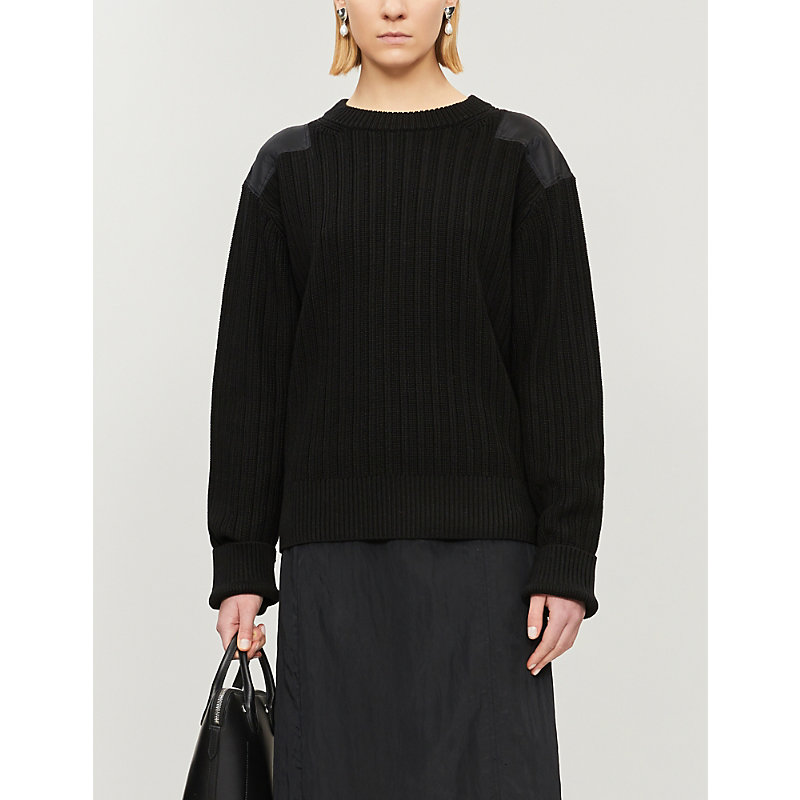 Helmut Lang Knits CONTRAST-PANEL RIBBED COTTON-KNIT JUMPER