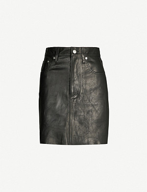 HELMUT LANG Raw-hem high-rise leather mini skirt
