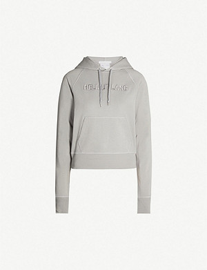 HELMUT LANG Logo-embroidered cotton-jersey hoody