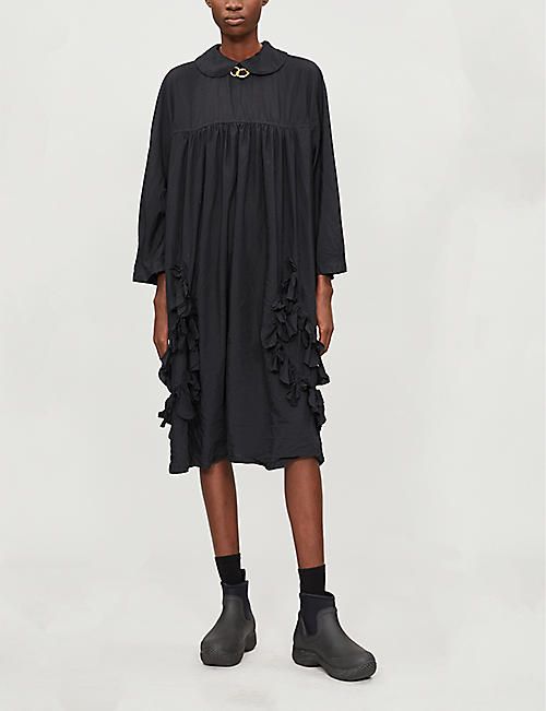 COMME COMME DES GARCONS Peter Pan-collar woven midi dress