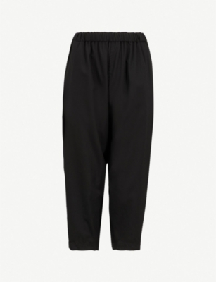 COMME COMME DES GARCONS Relaxed-fit wide-leg cropped wool trousers