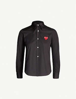 COMME DES GARCONS PLAY Heart-embroidered cotton shirt