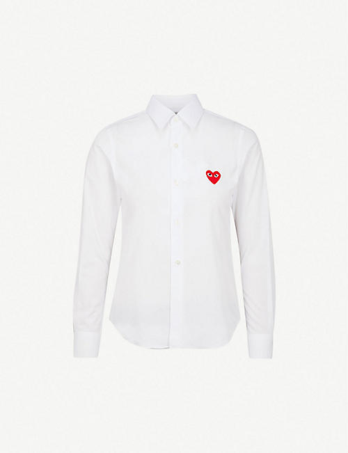 COMME DES GARCONS PLAY: Heart-embroidered cotton shirt
