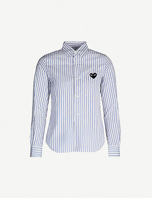 72bd4c70681eb COMME DES GARCONS PLAY Heart-embroidered striped cotton shirt